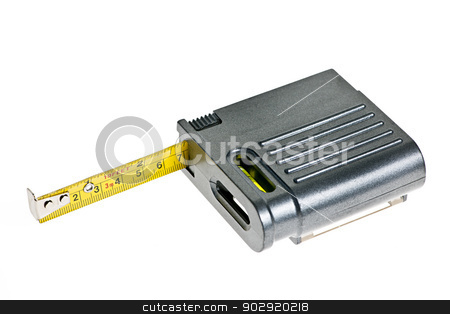 Tape measure stock photo, Gray tape measure with level isolated on white background by Elena Elisseeva