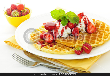 Belgian waffles stock photo, Plate of belgian waffles with fresh strawberries and whipped cream by Elena Elisseeva