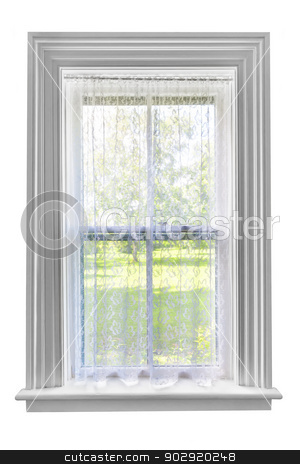 Window with lace curtain stock photo, Window and sill with sheer lace curtains isolated on white background by Elena Elisseeva
