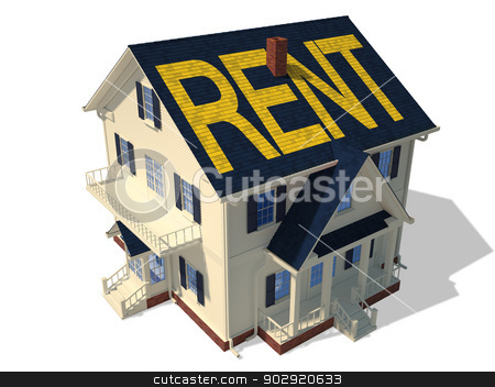 Home exterior(Rent) stock photo, Render home exterior(Rent) by Anadmist