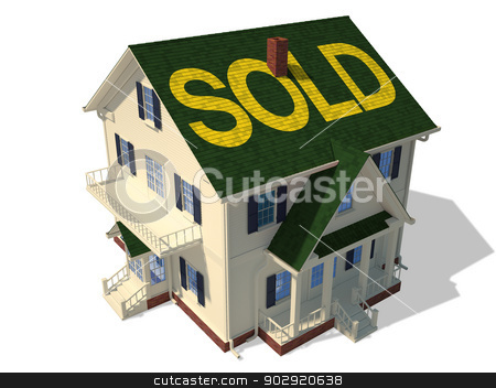 Home exterior(Sold) stock photo, Render home exterior(Sold) by Anadmist