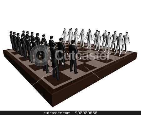 Businessmen chess stock photo, The picture contains the image of abstract chess game where as figures businessmen are shown  by Anadmist