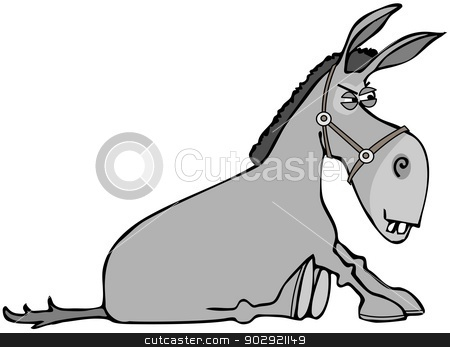 Stubborn donkey stock photo, This illustration depicts a stubborn donkey sitting on its haunches. by Dennis Cox