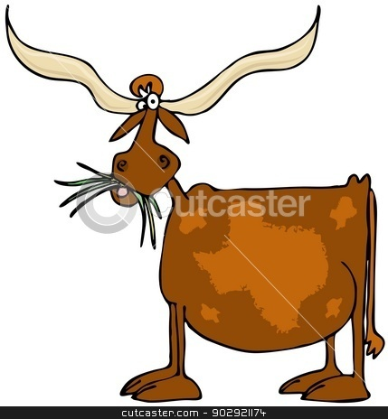 Original Texas longhorn stock photo, This illustration depicts a cow with giant horns and a pattern of the state of Texas on its side. by Dennis Cox
