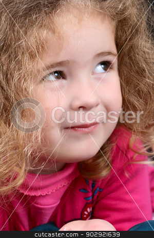 Little Girl stock photo, Little girl with curly hair wearing pink by Vanessa Van Rensburg