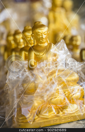 Buddhas stock photo, Buddha souvenirs close-up, shallow depth of field, Myanmar, Burma, Southeast Asia by mdphot