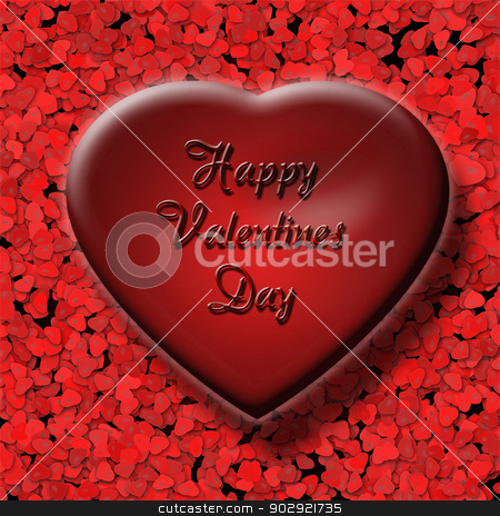 3d Red Valentine Heart stock photo, Big red valentine heart with inscription Happy Valentines Day, on the background of small hearts by Marian Bauer
