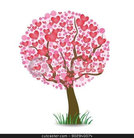 heart tree stock vector clipart, colorful illustration with  heart tree for your design by valeo5