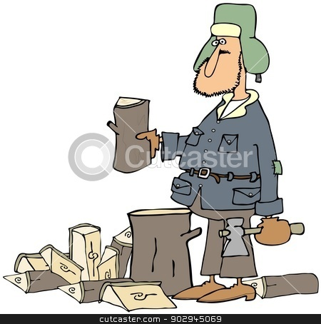 Man splitting firewood stock photo, This illustration depicts a bundled up man splitting firewood with an axe. by Dennis Cox