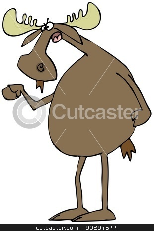Irate moose stock photo, This illustration depicts an irate moose standing upright and shaking its hoof. by Dennis Cox
