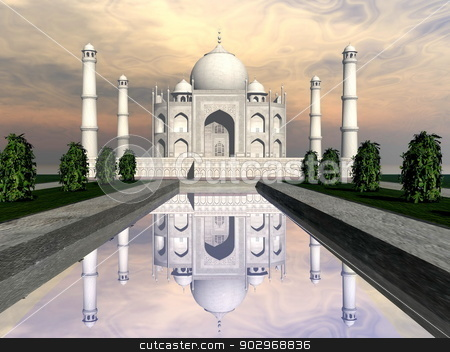 Taj Mahal mausoleum, Agra, India - 3D render stock photo, Famous Taj Mahal mausoleum and nature around by sunset, Agra, India by Elenarts