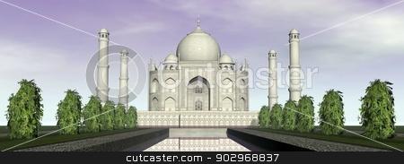 Taj Mahal mausoleum, Agra, India - 3D render stock photo, Famous Taj Mahal mausoleum and nature around, Agra, India by Elenarts