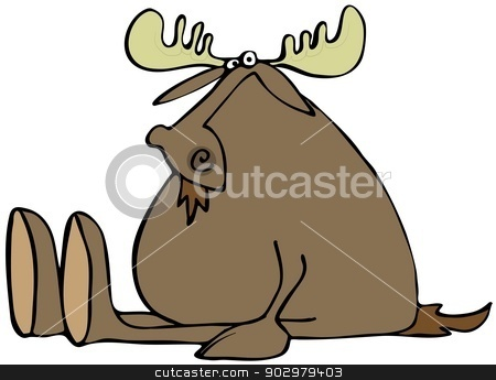 Sitting moose stock photo, This illustration depicts a moose sitting with its legs stretched out. by Dennis Cox