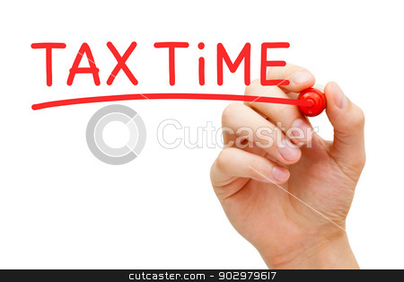 Tax Time Red Marker stock photo, Hand writing Tax Time with red marker on transparent wipe board. by Ivelin Radkov