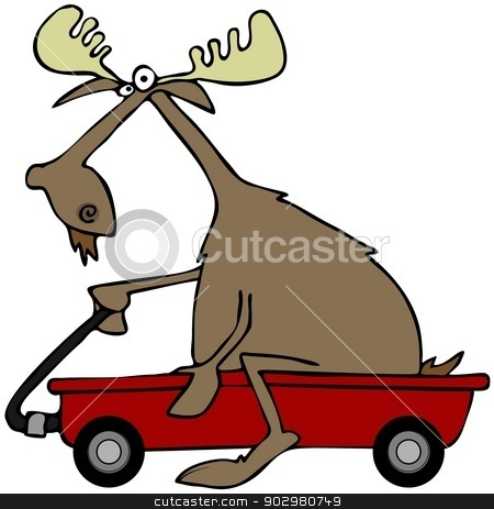 Moose in a red wagon stock photo, This illustration depicts a bull moose sitting and pushing a red wagon. by Dennis Cox