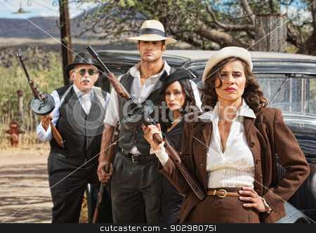 Diverse 1920s Era Gangsters stock photo, Four diverse 1920s vintage gangsters outside by Scott Griessel