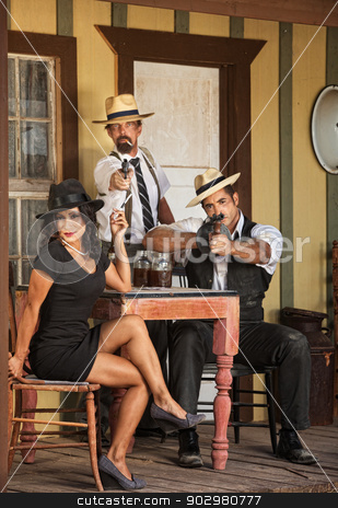 Three Whiskey Gangster Bootleggers stock photo, Group of three alcohol bootleggers at tavern by Scott Griessel