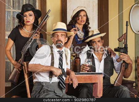 Armed Bootleggers with Guns stock photo, Prohibition era gangster with beard and bootleggers by Scott Griessel