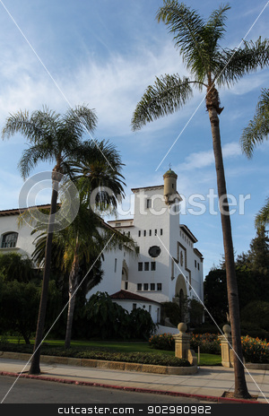 Courthouse stock photo, Old historical courthouse in Santa Barbara. by Henrik Lehnerer