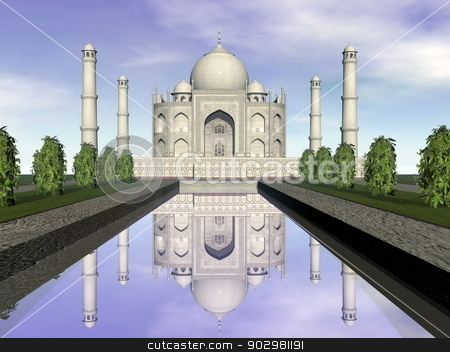 Taj Mahal mausoleum, Agra, India - 3D render stock photo, Famous Taj Mahal mausoleum and nature around by beautiful day, Agra, India by Elenarts