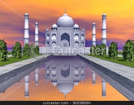 Taj Mahal mausoleum, Agra, India - 3D render stock photo, Famous Taj Mahal mausoleum and nature around by colorful sunset, Agra, India by Elenarts