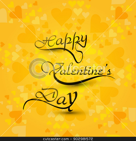 Beautiful card Happy Valentine's day hearts stylish text backgro stock vector clipart, Beautiful card Happy Valentine's day hearts stylish text background by bharat pandey
