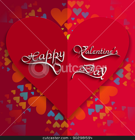 Happy Valentine's day card hearts with lettering text colorful b stock vector clipart, Happy Valentine's day card hearts with lettering text colorful background vector by bharat pandey