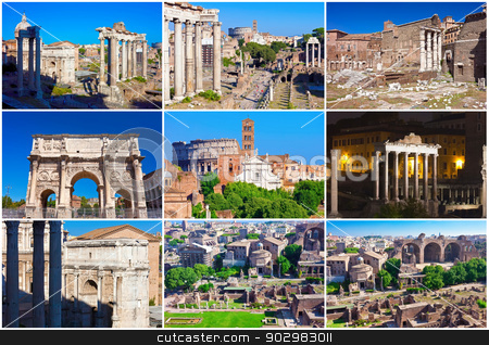Roman Forum stock photo, Ruins of famous ancient Roman Forum in Rome, Italy by Alexey Popov