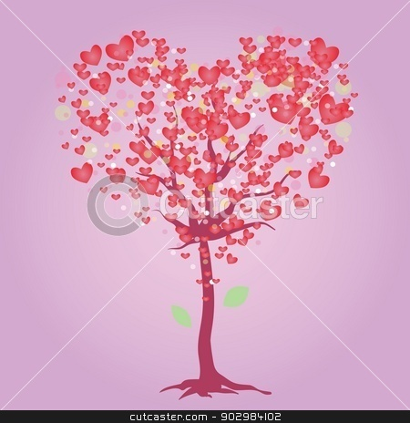 pink heart tree stock vector clipart, colorful illustration with pink heart tree for your design by valeo5