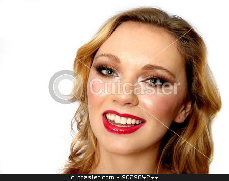 Blond Woman stock photo, Portrait of a blond woman white background. by Henrik Lehnerer