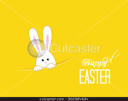Easter stock vector clipart, Yellow background with white Easter rabbit by Miroslava Hlavacova