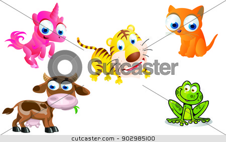 animals cartoon stock vector clipart, funny animals cartoon by amin mario