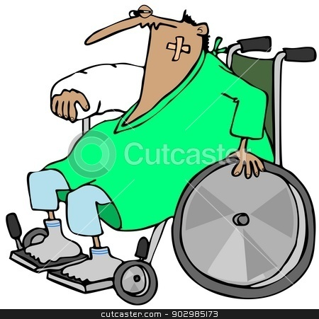 Injured man in a wheelchair stock photo, This illustration depicts an injured man with arm in a cast sitting in a wheelchair. by Dennis Cox