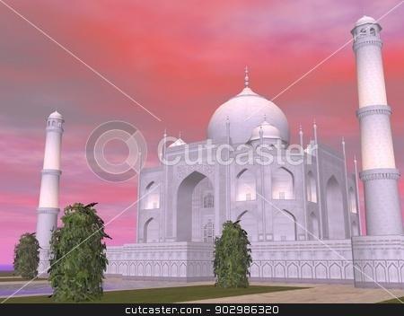 Taj Mahal mausoleum, Agra, India - 3D render stock photo, Close up of famous Taj Mahal mausoleum by sunset, Agra, India by Elenarts