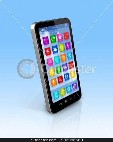 Smartphone Touchscreen HD - apps icons interface stock photo, 3D smartphone, mobile phone - apps icons interface - isolated with clipping path by Laurent Davoust