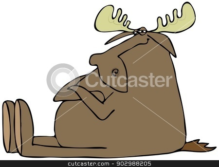 Obstinate moose stock photo, This illustration depicts an obstinate moose sitting with its arms folded. by Dennis Cox