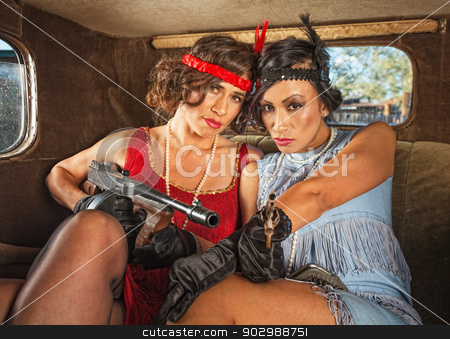 Retro Gangster Women in Car stock photo, Pair of pretty 1920s female gangsters in car by Scott Griessel