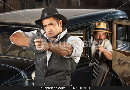 1920s Era Gangsters with Guns and Car stock photo, 1920s vintage gangsters outside of antique automobile by Scott Griessel