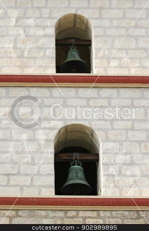 Santa Barbara Mission Bells stock photo, Focus on two of the Santa Barbara Mission bells. by Henrik Lehnerer