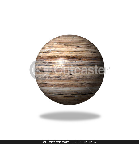 Wooden Globe stock photo, Abstract wooden globe with a wood background. by Henrik Lehnerer