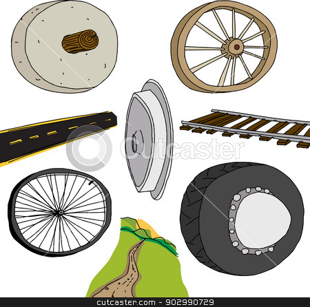 Evolution of The Wheel stock vector clipart, Evolution of the wheel graphic on isolated background by Eric Basir