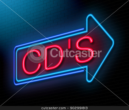 Compact disc concept. stock photo, Illustration depicting an illuminated neon sign with a cd concept. by Samantha Craddock