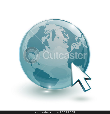 glass globe earth map 3d blue and cursor stock photo, glass globe earth map 3d blue and cursor on white background by mizar_21984