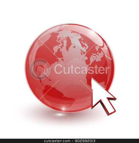 glass globe earth map 3d red and cursor stock photo, glass globe earth map 3d red and cursor on white background by mizar_21984