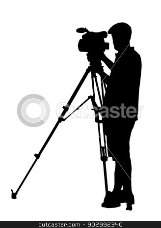 Silhouette of Movie Cameraman stock vector clipart, Silhouette of Movie Cameraman with camera on tripod stand by Snap2Art