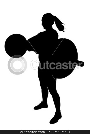 Lady Weight Lifter Silhouette stock vector