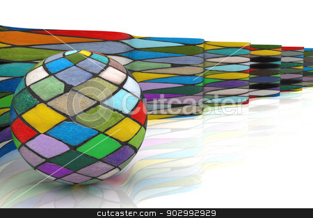 Mosaic ball against the background of colorful waves stock photo, The mosaic ball against the background of colorful waves by Guru3D