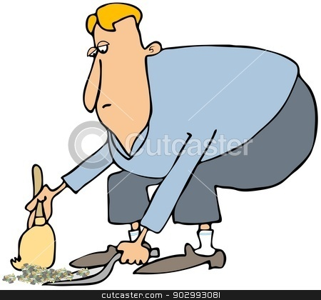 Man cleaning with a dustpan & broom stock photo, This illustration depicts a man bending over to clean up with a hand broom and dustpan. by Dennis Cox