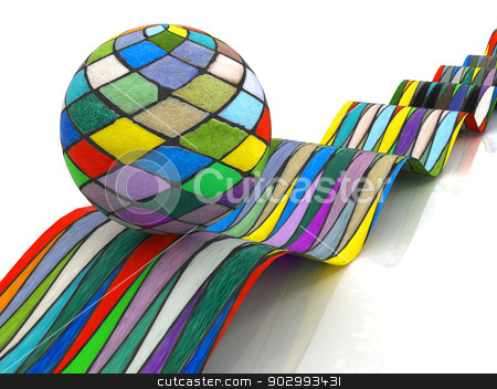Mosaic ball on a colorful waves stock photo, Mosaic ball on a colorful waves on a white background by Guru3D
