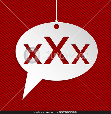 Hanging speech bubble sign with XXX text stock vector clipart, Hanging speech bubble sign with adult content warning by Mihaly Pal Fazakas